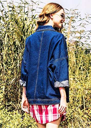 de larga boyfriend media vaquera XL blue XS chicas chaqueta suelto jean estilo Dark mujer Chaqueta HqBz8wSW