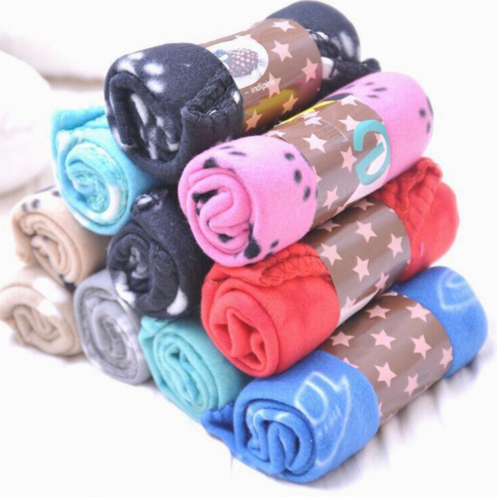 BulzEU Lot DE 5 Couvertures de Chien/Chat Toison Tissu Doux et Mignon avec Motif Pattes de Chien 60 x 70 cm