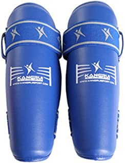 KANGRUI gratuit Combat jambe Guard adultes d'entraînement Tournament Bleu M