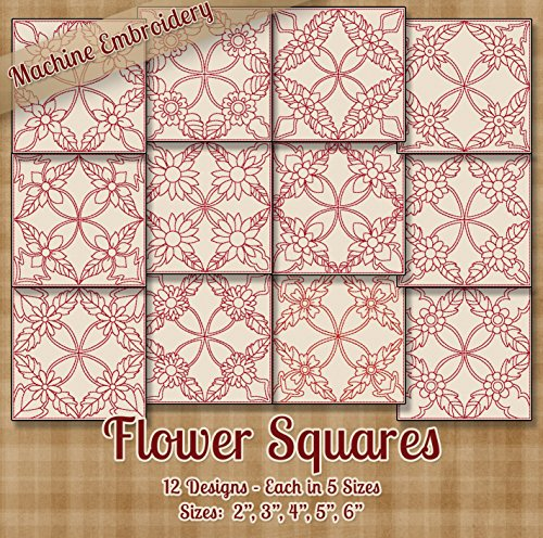 Flower Squares Redwork Embroidery Machine Designs on CD - 12 Outline Style Designs - 5 Sizes Each - ART ART70 PES JEF EXP SEW XXX VIP HUS DST