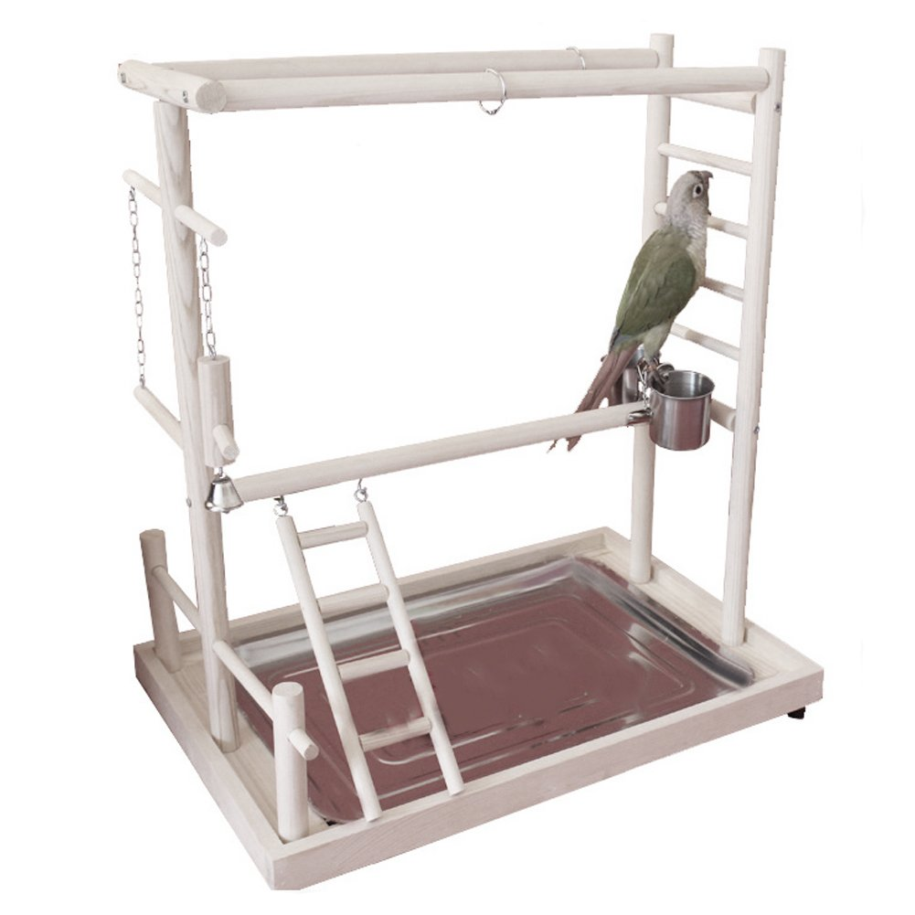 QBLEEV Bird's Nest Stand Parrot Playground Playgym Playpen Playstand Swing Bridges Tray Wood Climb Ladder Wooden Perches Parakeets African Grey Cockatiel (QB-bird villa-no-nestM)