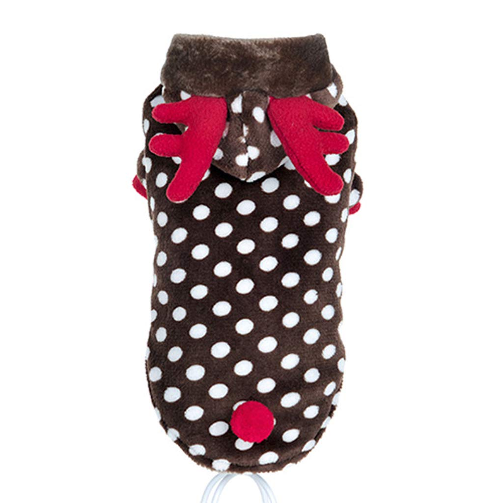 Abbigliamento per Animali di Natale Gatto Domestico Diverdeente Carino Caldo Peluche Abbigliamento Autunno e Inverno (Marronee, L)