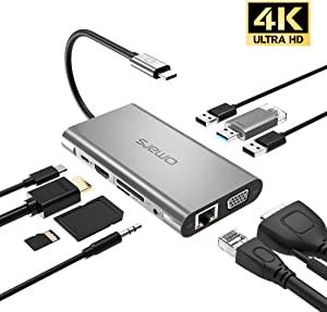 USB C Hub HDMI Adapter Omars 10 in 1 Type C Docking Station with Power Delivery (100W) HDMI 4K, VGA, 1000Mbps Ethernet Port, 3,5mm Aux, 3X USB 3.0 TF/SD Card Reader for MacBook/Pro/Air Windows Laptops