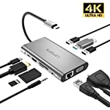 USB C Hub Adapter Omars 10 in 1 Type C Docking Station with USB C Power Delivery 100W, 4K HDMI, VGA, 1000Mbps Ethernet LAN Port, 3,5mm Aux, 3X USB 3.0, TF/SD Card Reader for MacBook and More USB C Devices