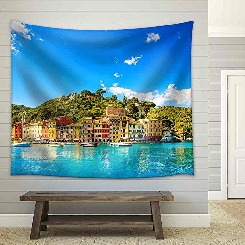 Portofino Tapestry Wall (wall26 - Portofino Luxury Landmark Panorama Village and Yacht in Little Bay Harbor Liguria, Italy - Fabric Wall Tapestry Home Decor - 68x80 inches)