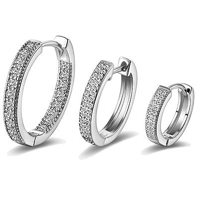 Platinum Plated Huggie Hoop Earrings with Cubic Zirconia Snake Charm