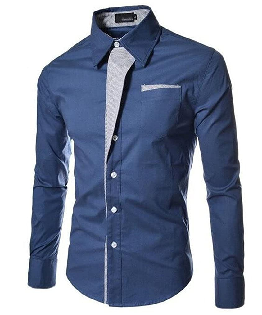 Cafuny Mens Pointed Collar Splicing Color Casual Long Sleeve Shirt