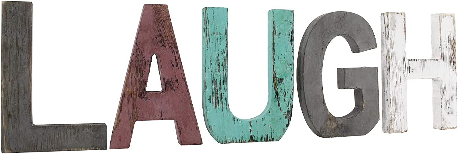 Rustic Wood Laugh Sign, Decorative Wooden Block Word Laugh Signs, Freestanding Wooden Letters, Rustic Laugh Signs for Home Decor, 20.6 x 5.9 Inch, Multicolor