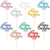 Moguer 50Pcs Happy Birthday Cake Toppers Cupcake Topper Picks for Birthday Party Silver Glitter Gold Cake Decoration…