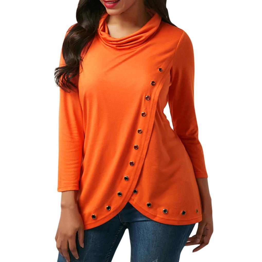 Joopee Women Hole Solid Pullover Turtleneck Sweatshirt Long Sleeve Tops Irregular Blouse (S, Orange)