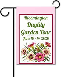 yyone Garden Event Party Pink Daylily Floral Polyester Garden Flag House Banner 28 x 40 inch, Two Sided Welcome Yard Decoration Flag for Party, Home Decoration, Car