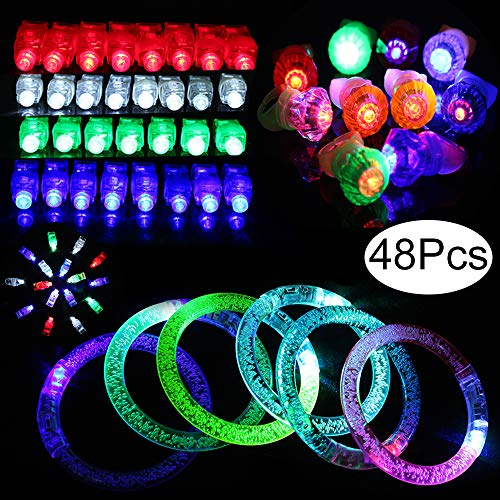 Outee 48 Pack Glow Sticks Bulk Toys Light Up Rings Party Favors Glow in The Dark Party Supplies Including 6 Glow Sticks Bulk Bracelets Light Up Rings Finger Lights for Kids -