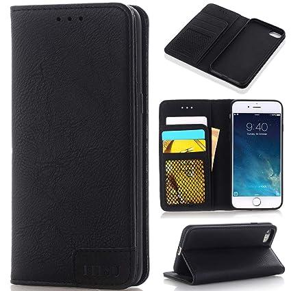 Fitsu Apple iPhone 8 Plus Hülle schwarz Flip Cover aus Premium Material – Extra dünne Handytasche mit KartenfachGeldfach & Standfunktion