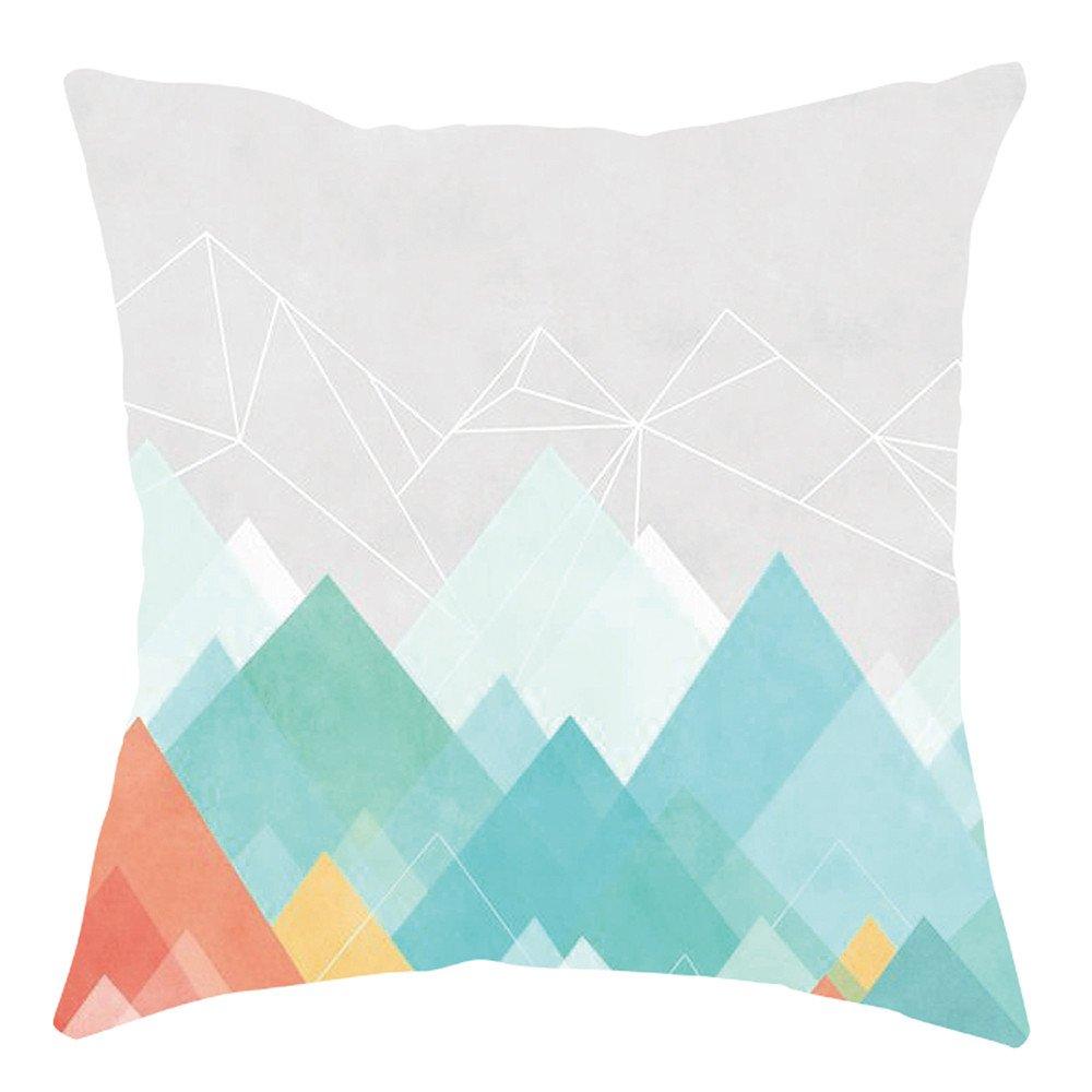Pgojuni Home Cushion Cover Geometric Throw Pillow Cover Square Accent Cushion Cover Pillow Case for Sofa/Car/Bed 1pc (A)