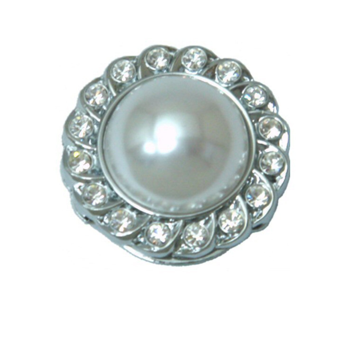 Eyeglass Holder Brooch with Crystals Bezel - White Pearl