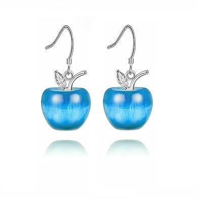 5c7ce926f Uloveido Simulated Aquamarine Fruit Apple Shape Stud Earrings Set for Girls  Women for March Birthstone YL007