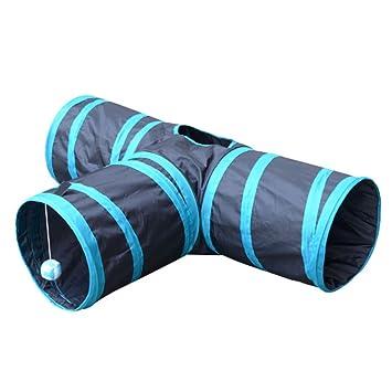 3 vías PET túnel plegable mascotas juguete tubo con balón para gato cachorro gatito conejos perro: Amazon.es: Juguetes y juegos