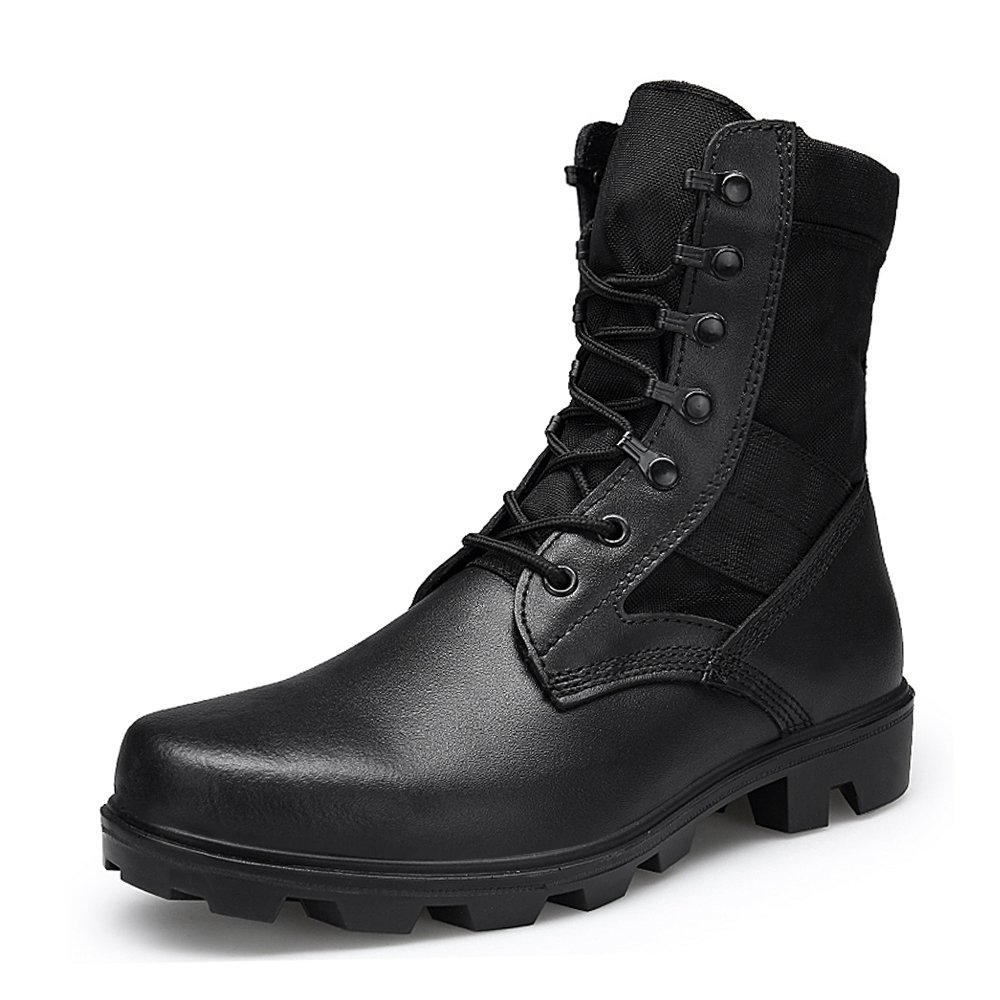 ENLEN and BENNA Mens Combat Boots Military Boots Tactical Leather Jungle Boots Desert Boots Black Composite Toe Lightweight Black 8.5 M US