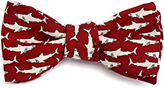product image for Josh Bach Men's Sharks Swimming Self-Tie Silk Bow Tie Red, Made in USA