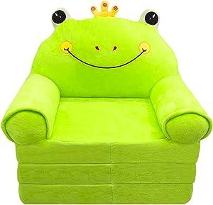 Plush Foldable Kids Sofa Backrest Chair Cute Cartoon Lazy Sofa Infant Toddler Kids's Flip Open Sofa Bed for Living Room Bedroom (Frog Green)