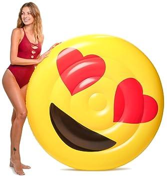 Floatie Kings Ojos de Corazon Emoji Flotador de Piscina - Balsa Inflable Gigante