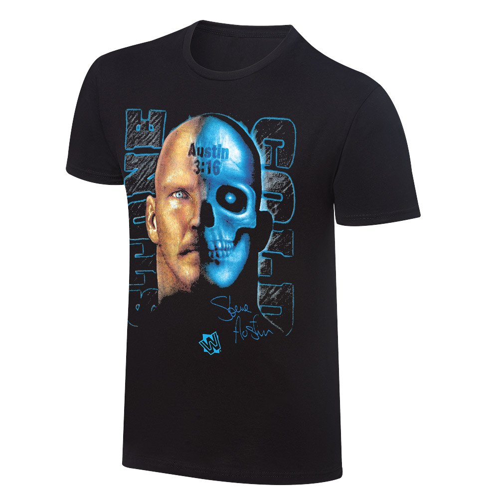 Stone Cold Steve Austin Skull Face WWE Authentic Mens T-shirt-L by WWE Authentic