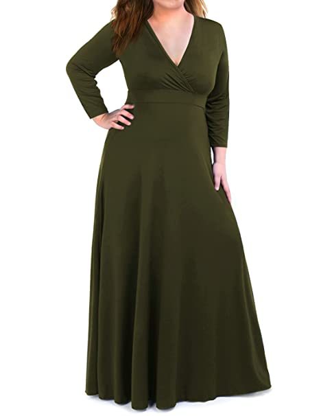 Plus Size Maxi Dress For Women With 34 Sleeve Deep V Neck Solid