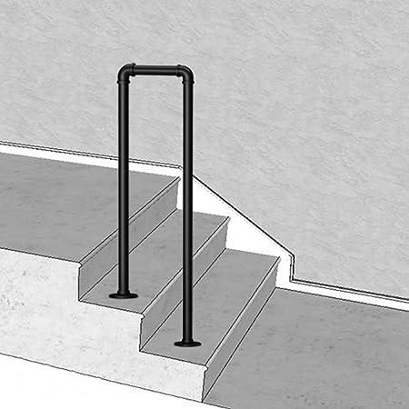 Exterior Pasamano de la Escalera 1 o 2 Pasos para peldaños de hormigón Escalera Negra Barandilla para escaleras Hierro Forjado Riel de Escalera con Kit de instalación: Amazon.es: Hogar
