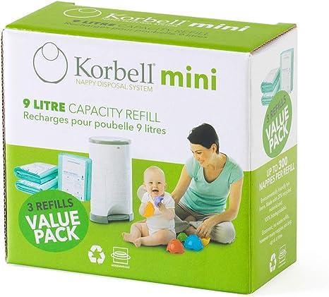 KORBELL - Recarga de pañales - MINI - 9 L - X3 - Biodegradable - Antiolor - Capacidad de 130 capas por recambio: Amazon.es: Bebé