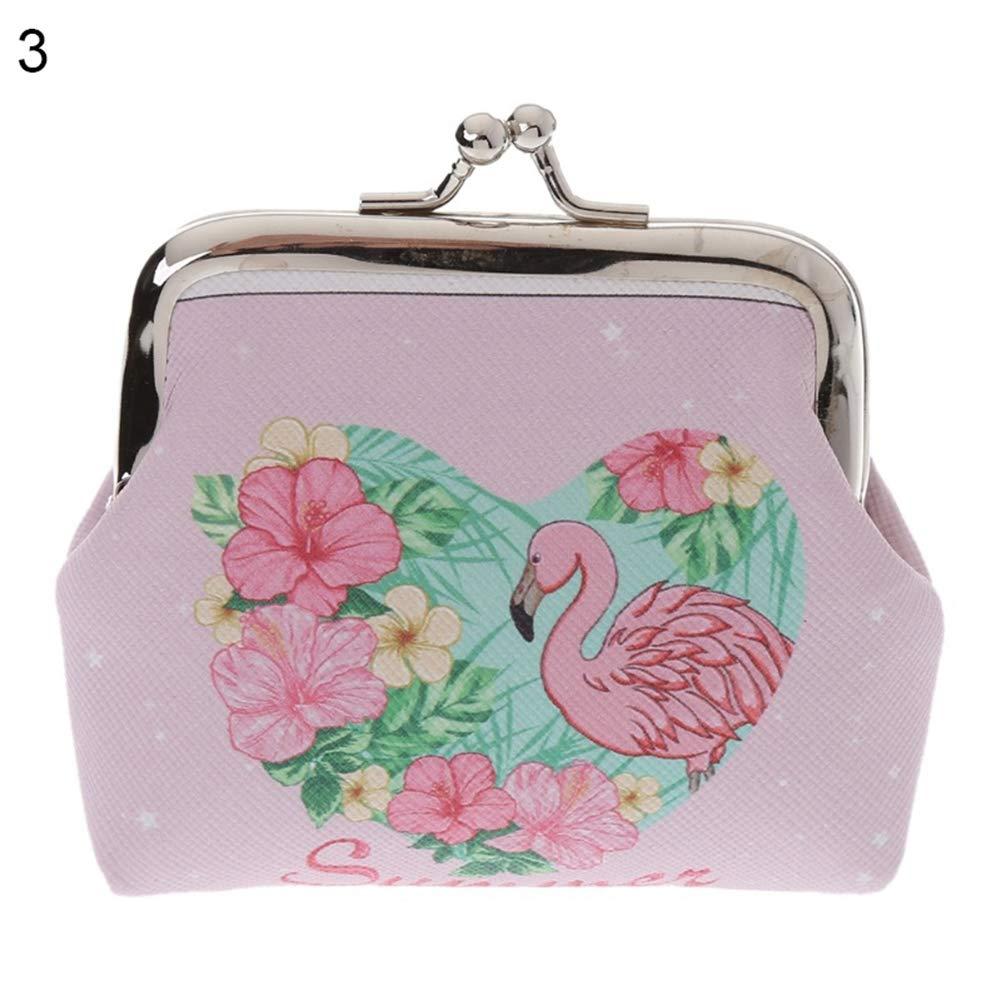 AchidistviQ Cartoon Flamingo Faux Leather Coin Purse Bag Earphone Key Case Women Mini Wallet