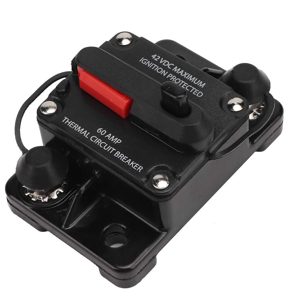 Disyuntor para autom/óvil 60A Restablecimiento de audio est/éreo para autom/óvil Inline Disyuntor Interruptor de recuperaci/ón autom/ática Fusible 40A 12V 30A 40A