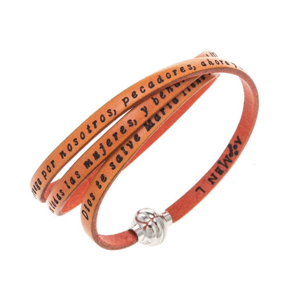 Amen Bracelet in orange leather Hail Mary SPA, 60 cm (23.64 inc.)
