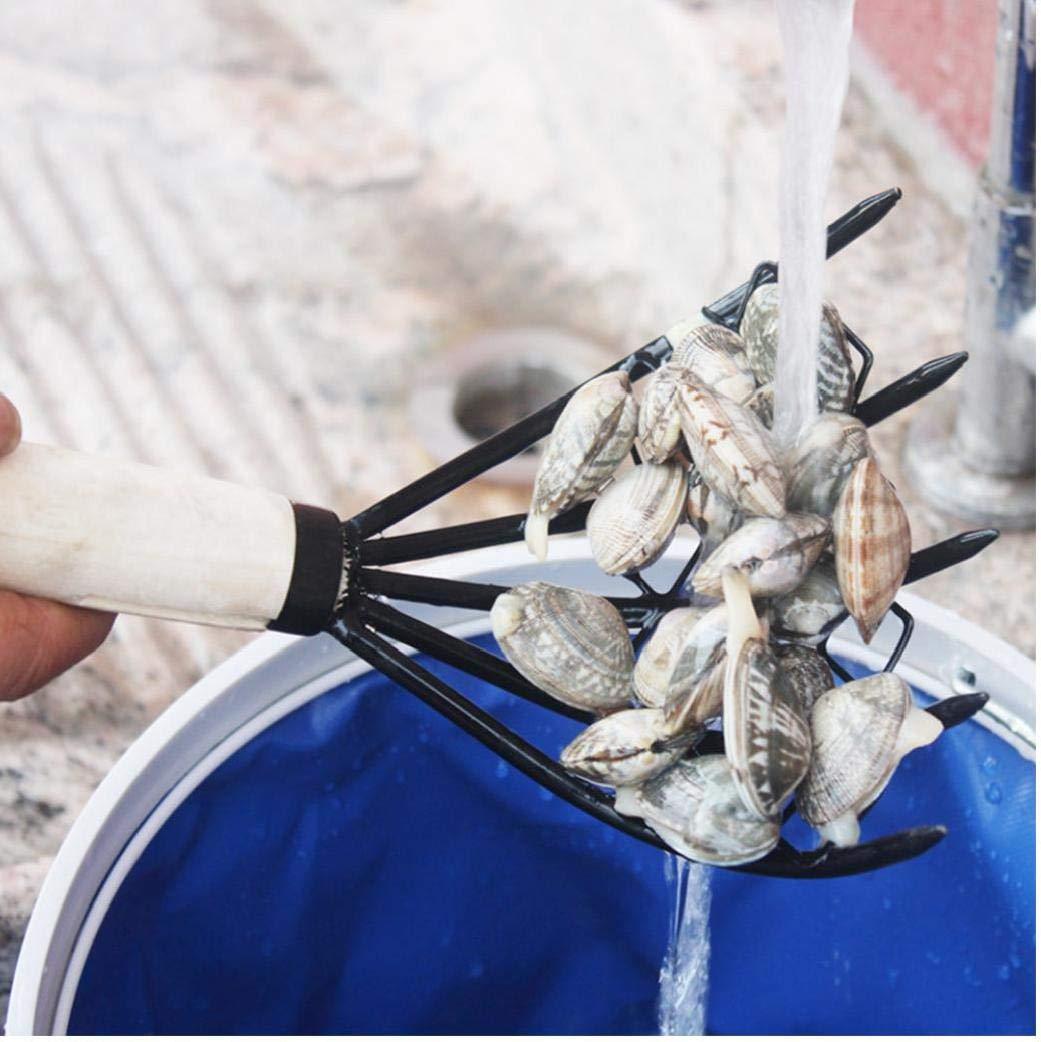 Rastrillo de almejas con Net 5 Garra de madera mango del rastrillo Shell herramienta de excavaci/ón Dig mariscos Accesorios