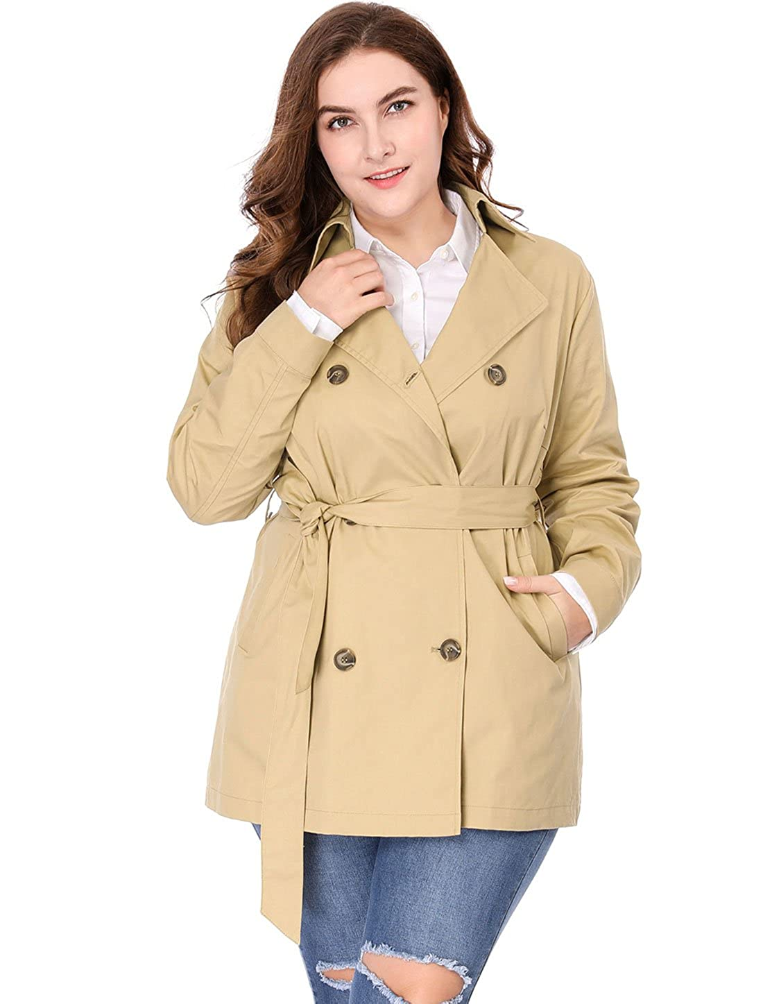Agnes Orinda Womens Plus Size Double-Breasted Belted Trench Coat