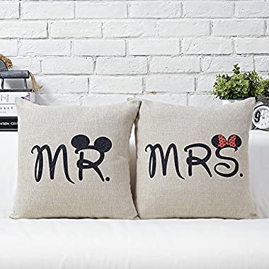 Uphome 18-inch Cotton Linen Decorative Couple Throw Pillow Cover Cushion Case Couple Pillow Case Set of-2 Mr & Mrs