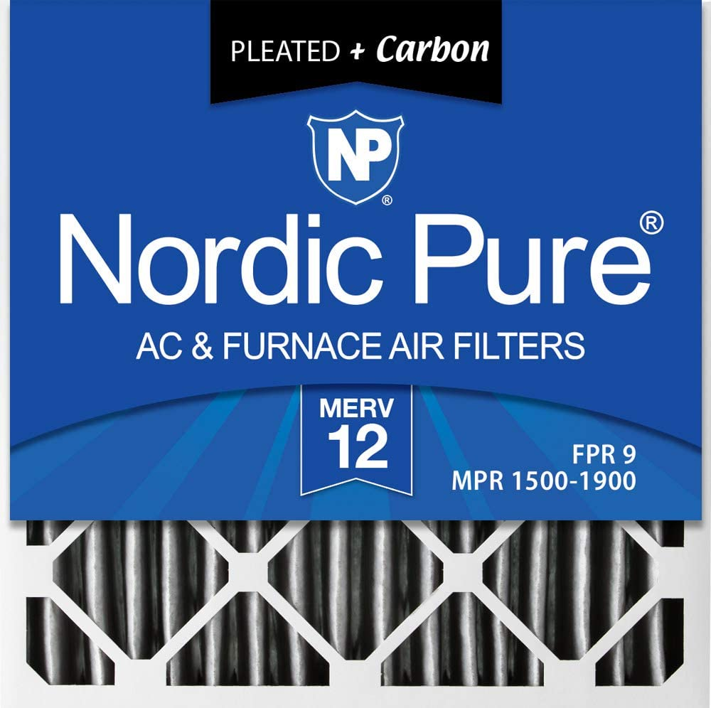 12 Piece 12 PACK Nordic Pure 20x20x2 MERV 10 Pleated Plus Carbon AC Furnace Air Filters