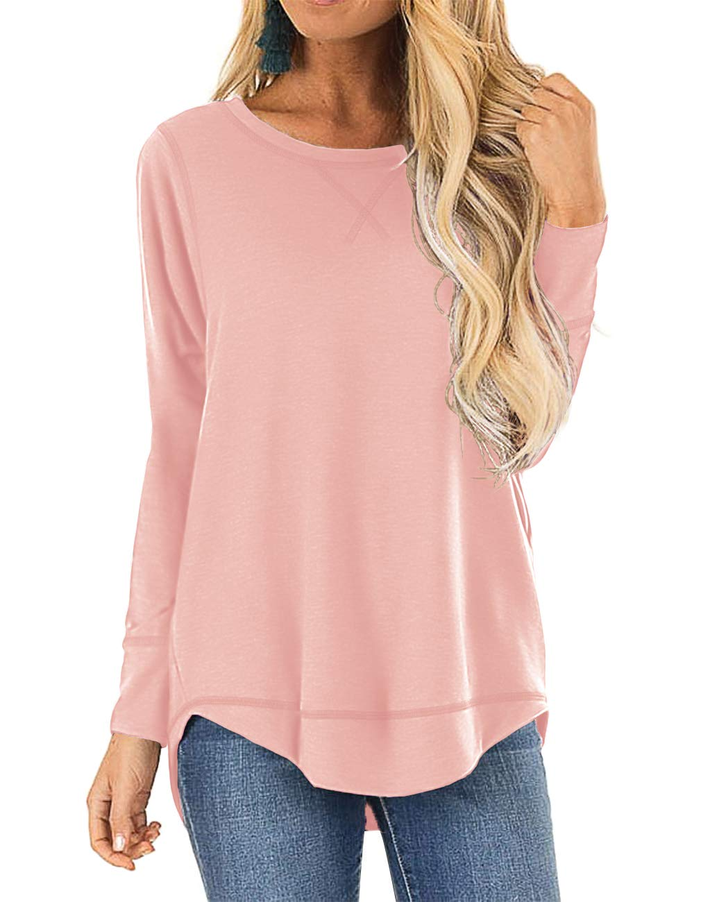 HIYIYEZI Womens O Neck Plain Side Split Loose Casual Baggy Pullover (Medium,Light Pink) by HIYIYEZI