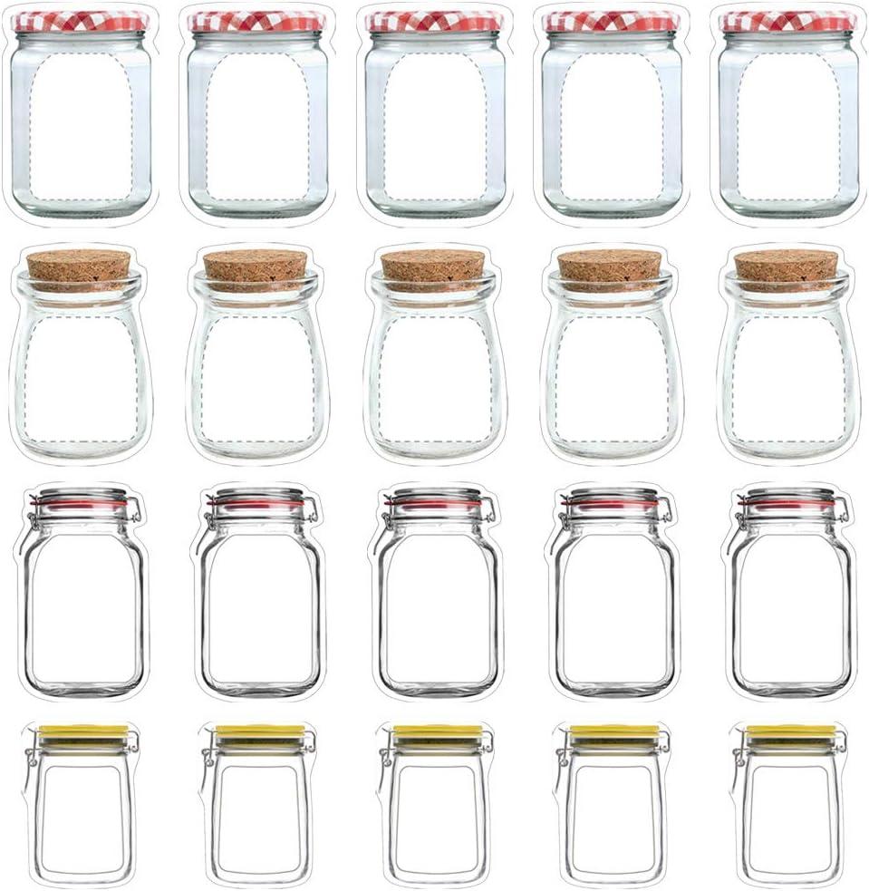 20 PACK Mason Jar Zipper Bags Food Storage Snack Zipper Bags Reusable Airtight Seal Food Storage Bags