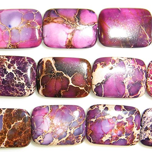 TheTasteJewelry 10x14mm Rectangle Imperial Purple Jasper Beads 15 inches 38cm Jewelry Making Necklace - Purple Jasper