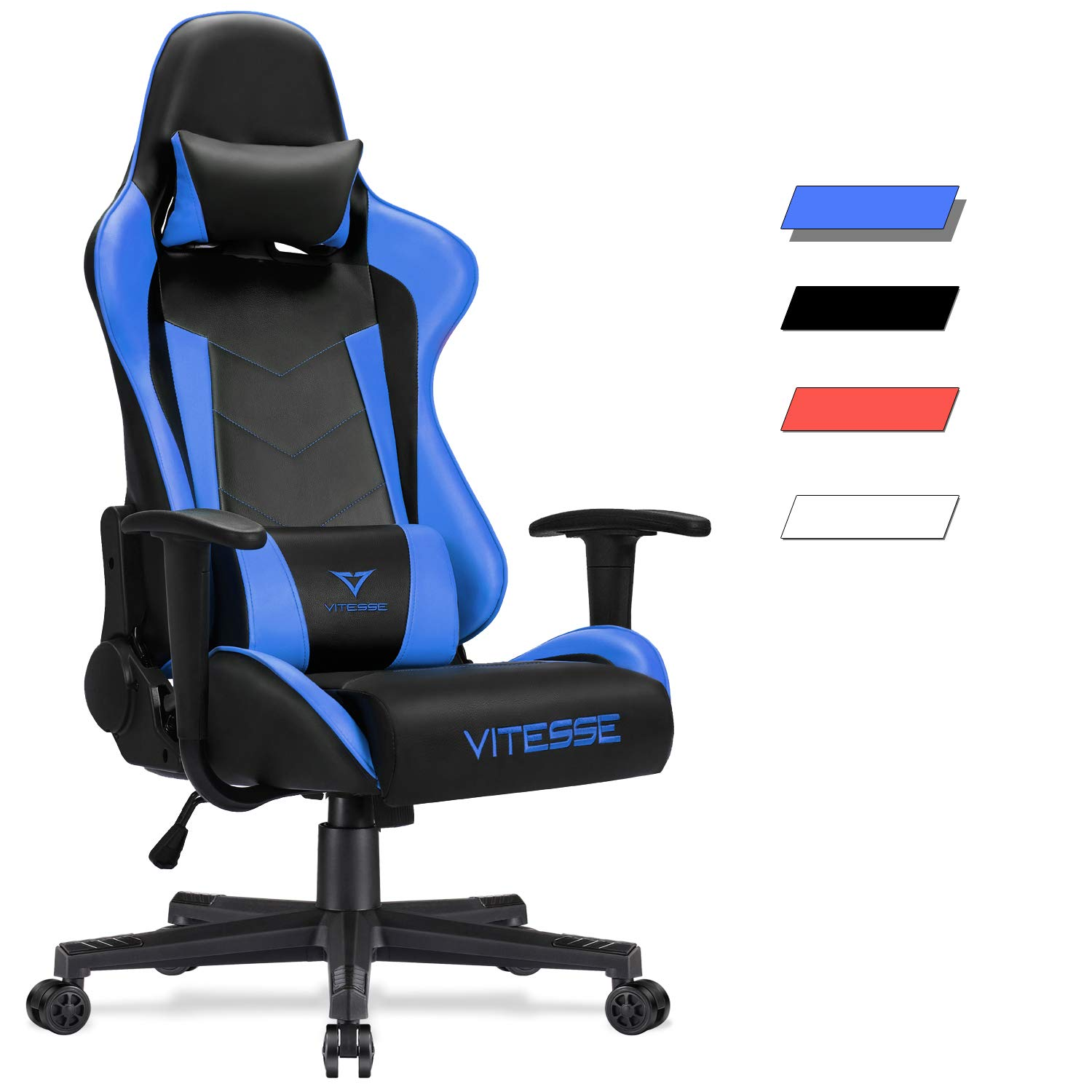 Vitesse Gaming Chair (Sillas Gaming) Video Gaming Chair Ergonomic Computer Desk Chair High Back Racing Style Comfortable Chair Swivel Executive Leather Chair with Lumbar Support and Headrest (Blue)