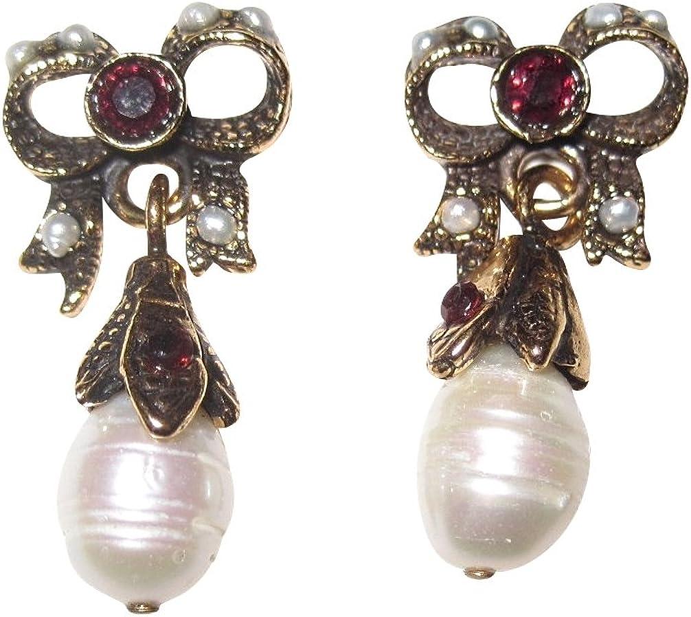Pendientes de lazo de piedras de granate rojas perlas de agua dulce blancas, colgante de latón chapado en oro, hecho a mano, diseño único vintage retro