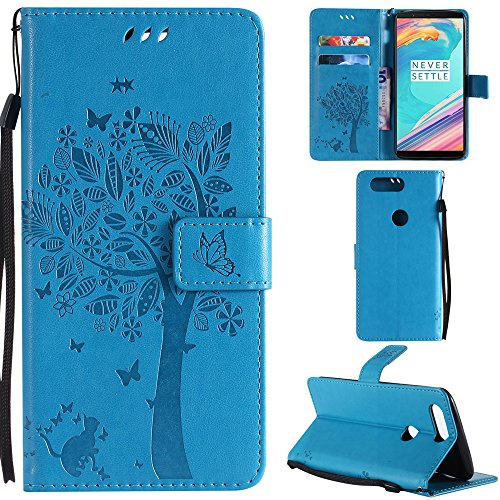 Ooboom OnePlus 5T Case Cat Tree Pattern PU Leather Flip Cover Wallet Stand with Card/Cash Slots Packet Wrist Strap Magnetic Clasp for OnePlus 5T - Blue