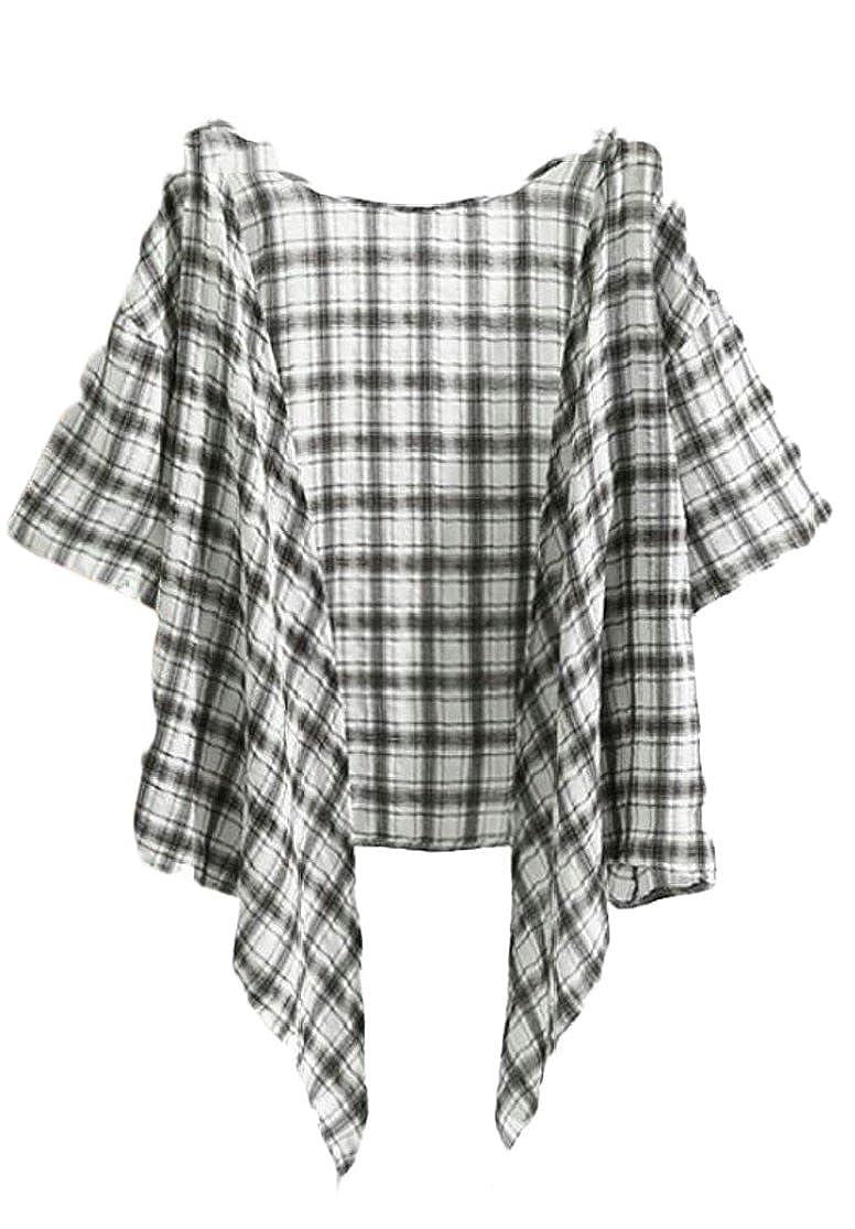 M/&S/&W Womens Casual Plaid Linen Short Sleeve Front Tie Crop Tops Bolero Shrug