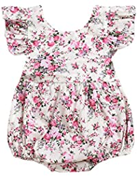 Newborn Baby Girls Floral Print Backless Romper Infant Kids Jumpsuit Outfit Playsuit Clothes