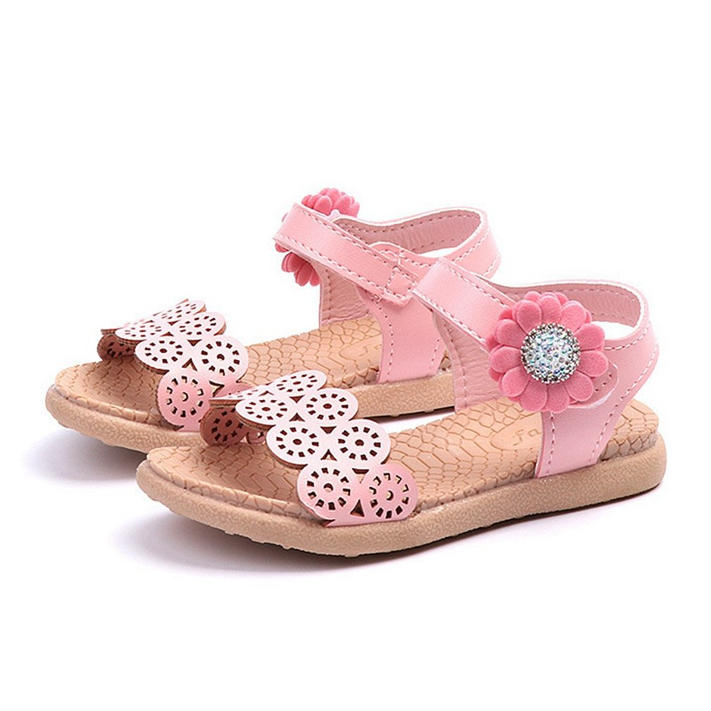 CYBLING Toddler Little Girls' Cutout Flower Design Sandals