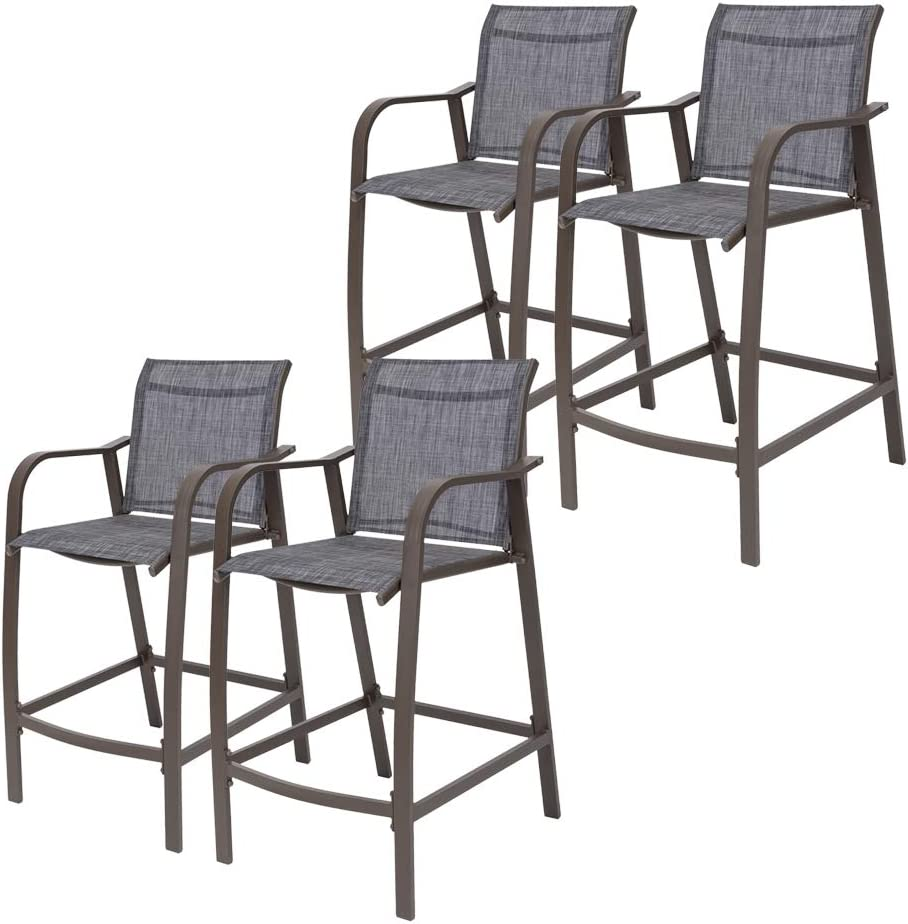 Crestlive Products Counter Height Bar Stools All Weather Patio Furniture with Heavy Duty Aluminum Frame in Antique Brown Finish for Outdoor Indoor, 4 PCS Set (Black & Gray)