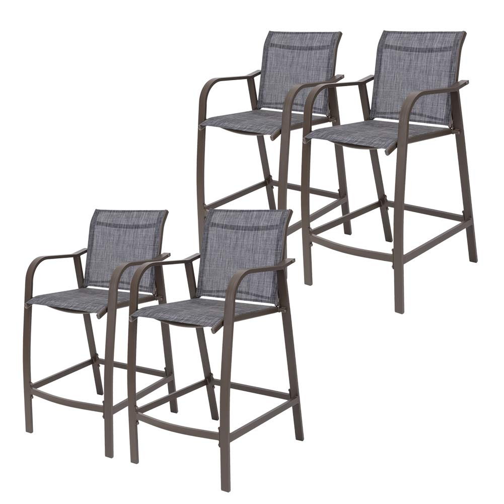Crestlive Products Counter Height Bar Stools All Weather Patio Furniture with Heavy Duty Aluminum Frame in Antique Brown Finish for Outdoor Indoor, 4 PCS Set (Black & Gray) by Crestlive Products