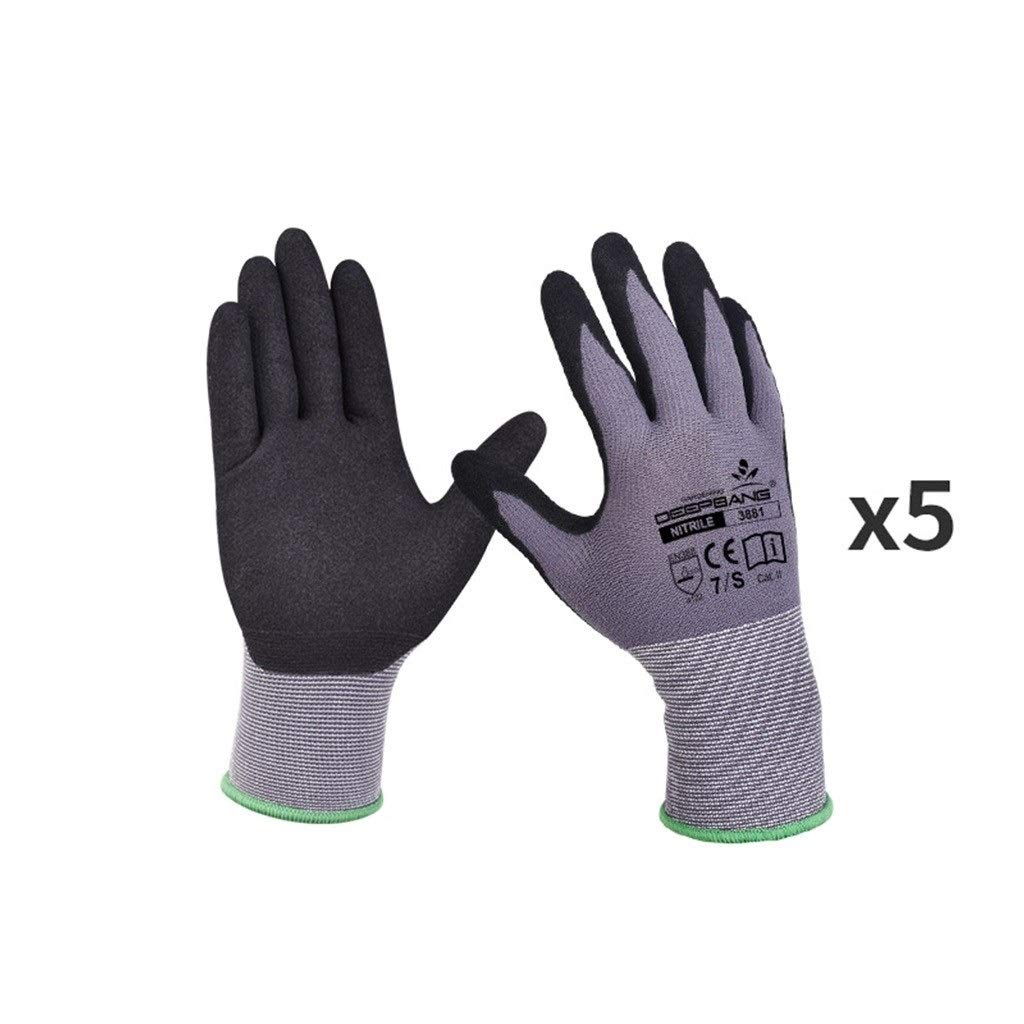 YANGBM 5 Pairs of Stab-Resistant and Cut-Proof Gardening Gloves, Non-Slip Wear-Resistant Breathable Protective Gloves, Used for Garden, Mechanical Work Gardening Gloves (Size : S)