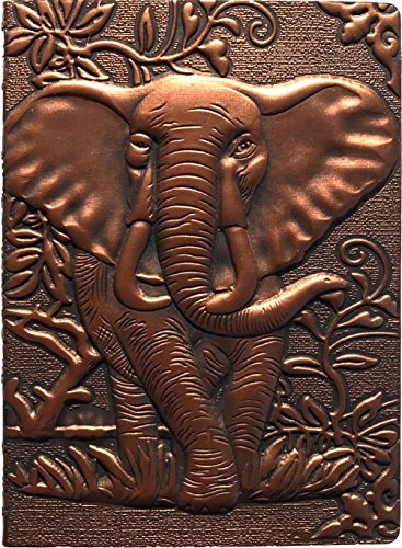 The Embossed Leather Journal (Engraved Leather Journal), with Elephant, an Antique Journal, Vintage Leather Journal, or Embossed Diary is a Embossed Notebook (Dark Elephant, 8.5X5.7 Inch) ()