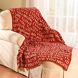 """Love You More Throw Blanket - Red Cotton 50"""" x 60"""""""
